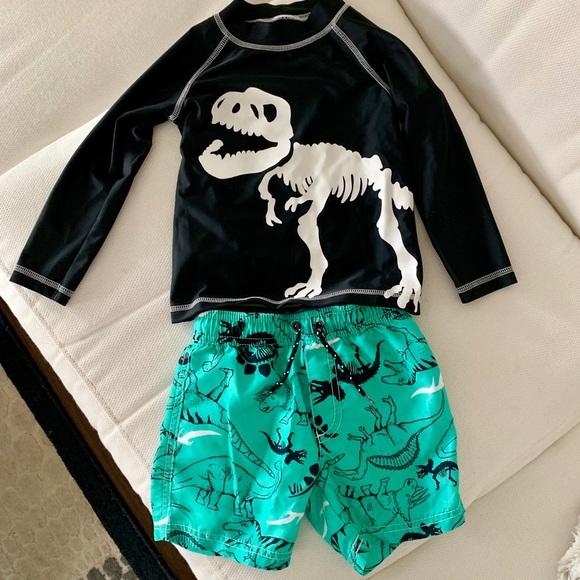 fe6238cbb8 Carter's Swim   2t Rash Guard And Trunks With Dinosaur Print   Poshmark